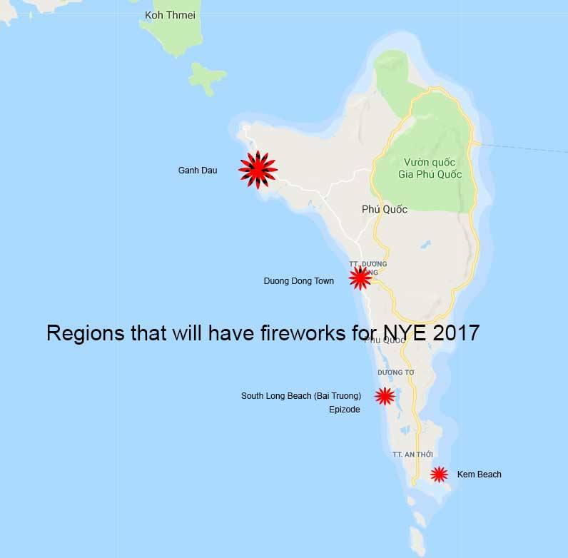 Салюты на новый год на острове Фукуок
